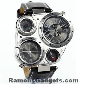 Oulm Heren horloge, met kompas en thermometer
