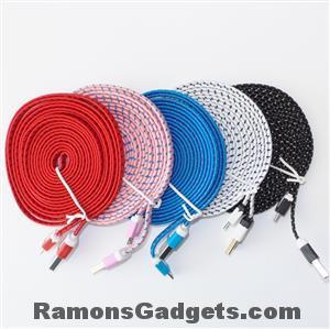 Micro USB kabel 3 meter stevige nylon buitenkant