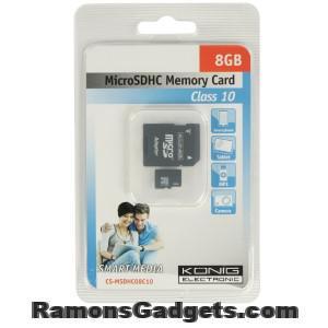 MicroSDHC 8GB - König - Geheugenkaartje - telefoon - tablet