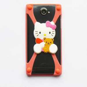 Universele Bumper Case - Silicone - Rubber - hoesje Hello Kitty