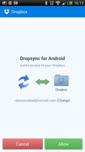Dropbox Toestemming voor DropSync