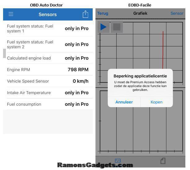 OBD II - ODB Auto Doctor - EOBD-Facile - Beperkingen gratis apps - Wifi Dongle - iPhone