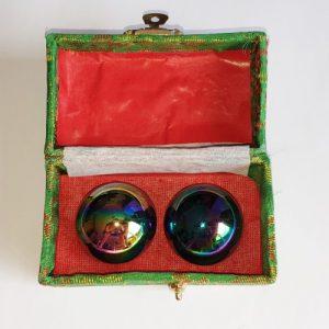 Meridiaan kogels Regenboog Chroom (Groen doosje)